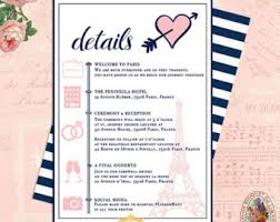 Destination Wedding Itinerary Eiffel Tower Paris Wedding Invitations French Wedding