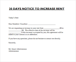 rent increase notice preview the notice of rent increase form