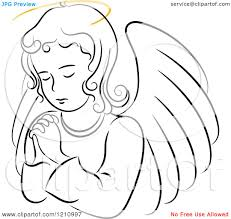 angel clipart black and white free collection