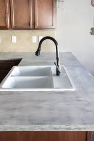Countertop Kitchen Sink Diy Feather Finish Concrete Countertops Bless Er House