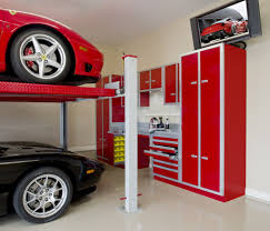 red garage cabinet ideas with stacking parking and television red garage cabinet ideas with stacking parking and television