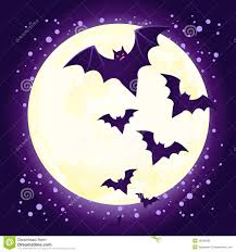 halloween cute bat flying against full moon royalty free stock
