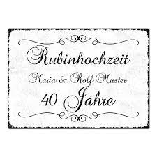 geschenk zum 40 hochzeitstag geschenk zum 40 hochzeitstag schild a4 mit individuellem