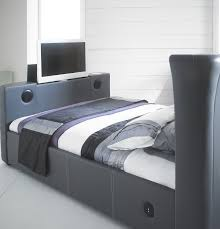 Bed Frame With Tv Built In New Grey 5 0 Leather Tv Bed With Built In Speakers