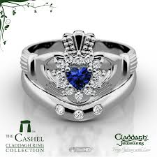 claddagh set cashel white gold sapphire wedding set claddagh jewellers