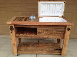 Wood Patio Furniture Ideas Furniture Rustic Wood Patio Cooler Cart With Bottom Shelf For