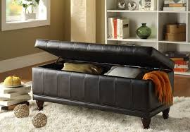 furniture intriguing black leather ottoman storage bench 16