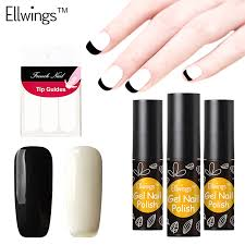 ellwings varnish long lasting black white color french manicure