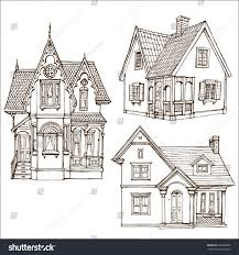 victorian cute little houses set outline stock vector 678260506