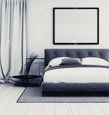 Black And White Bed Stylish Grey And White Bedroom Interior With Close Up Detail