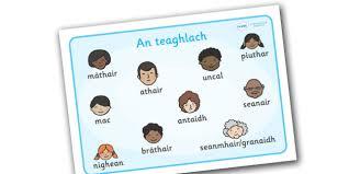 scottish gaelic family word mat scottish gaelic family word
