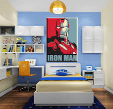 Artwork For Kids Room by Classical Colorful Cartoon Iron Man Art Painting Canvas Print