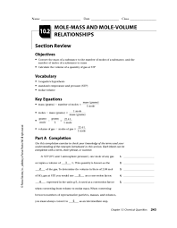 mole mass and mole volume relationships 10th 12th grade