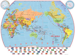 Best City Flags Primary Pacific Centred World Wall Map Political With Flags Best