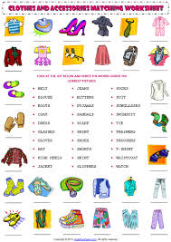 clothes and accessories vocabulary matching exercise worksheet 1