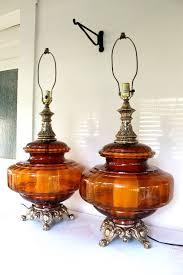 ef ef industries l pair amber hollywood regency style ls mid century very large