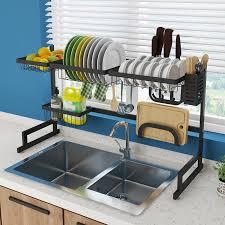 sink kitchen cabinet organizer kitchen shelf organizer dish drying rack sink utensils holder bowl dish draining shelf kitchen storage countertop organizer