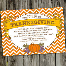 orange chevron thanksgiving dinner printable invitation