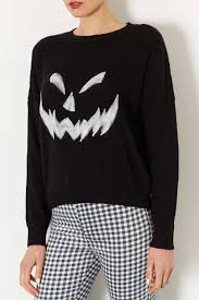 topshop knitted pumpkin face jumper in black lyst