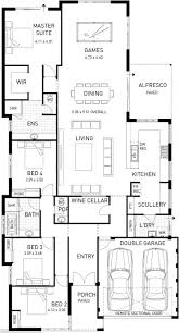 Open Plan Floor Plans Australia by The Majestic Four Bed Narrow Home Design Plunkett Homes