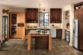 endearing drak brown color cherry wood merillat kitchen cabinets