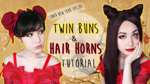 two ear hairstyle hair wig tutorial twin buns and dragon hair horns youtube