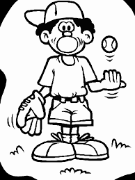 softball player catching ball free coloring sheet