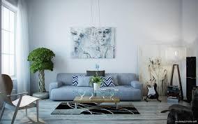 contemporary modern artwork in living room dining room entry blue