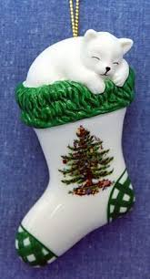 two christmas cat ornaments knitting yarn stocking ornaments on