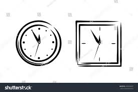 simple clock sketch set 2in1 stock vector 283933697 shutterstock