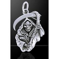 grim reaper sterling silver charm gothic jewelry skulls