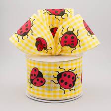 ladybug ribbon 2 5 gingham ladybug ribbon yellow white 10 yards q730940 49