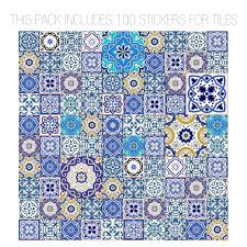 Tile Stickers by Talavera Traditional Tile Decals Pack Of 100 Moonwallstickers Com