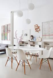 Modern Plastic Chairs Chair Clean Modern Dining Room With Eero Saarinen Table And