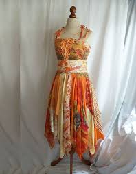romantic tattered dress yellow upcycled woman u0027s clothing funky