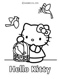 kitty birdcage coloring pages hellokids