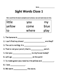 kindergarten sight words worksheets dolch sight words cloze