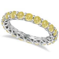 gold eternity rings fancy yellow canary diamond eternity ring band 14k white gold 3 50ct