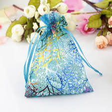 small organza bags 100pcs lot blue coralline organza bag 7x9cm small jewelry gifts