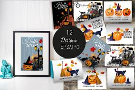 hallow ween halloween watercolor and vector by tati design bundles