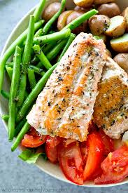 Main Dish Salad - seared salmon nicoise salad with roasted garlic herb dressing