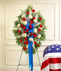 white and blue floral arrangements white blue sympathy standing spray at from you flowers