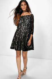 maternity amera eyelash lace skater dress boohoo