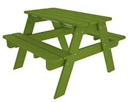 Outdoor Furniture Amazon by Amazon Com Polywood Outdoor Furniture Kid Picnic Table Lime