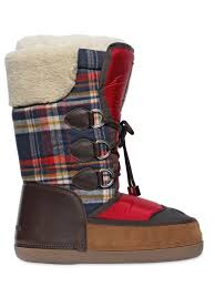 dsquared plaid flannel u0026 nylon snow boots in red for men lyst