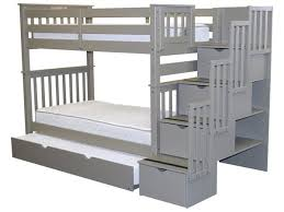 bunk beds tall twin stairway gray twin trundle 698