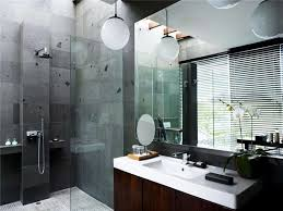 nice bathroom ideas with elegant gray wall tile and big mirror