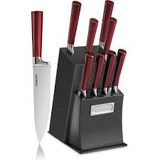 11 piece cutlery block set red and black classic ventrano
