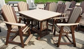 Counter Height Table And Chairs Set Poly 44 U2033 Square Counter Height Table And Adirondack Chair Set