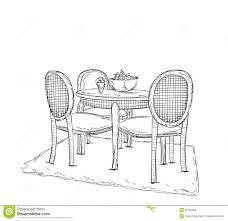 table and chair sketch dinner in the home stock vector image